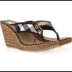 BURBERRY Nova Wedge Sandals with plaid thong